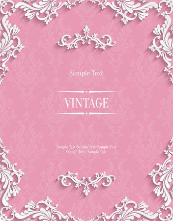 挨拶や紙のカット スタイルの招待状カードのデザイン 3 d ダマスク織花柄テンプレートとピンクのビンテージ背景のベクトル