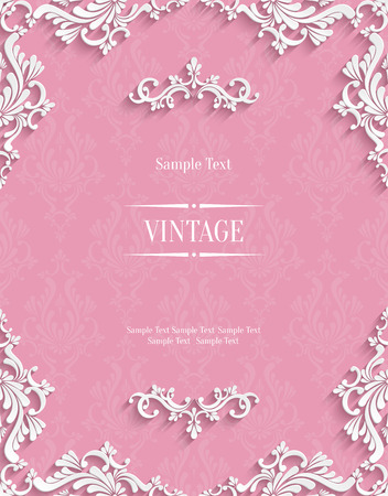 Vector Pink Vintage Background with 3d Floral Damask Pattern Template for Greeting or Invitation Card Design in Paper Cut Style Çizim