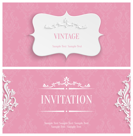 Vector Pink Vintage Background with 3d Floral Damask Pattern for Greeting or Invitation Card Design in Paper Cut Style