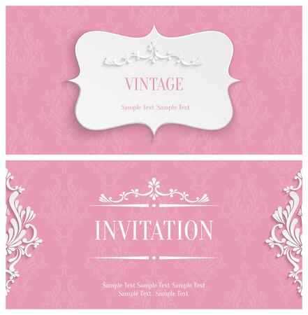 벡터 핑크 빈티지 배경과 3D 꽃 다 패턴으로 인사말 또는 초대 카드 디자인 종이 잘라 스타일 일러스트