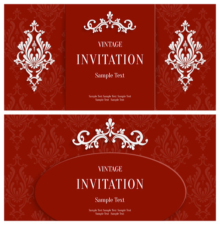 victorian christmas: Vector Red Floral 3d Horizontal Backgrounds Set. Template for Christmas and Invitation Cards