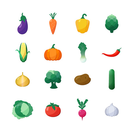 pumpkin tomato: Vector Icons Vegetables Flat Style Set Isolated over White with Eggplant, Carrot, Paprika, Artichoke, Corn, Radish, Pumpkin, Potato, Leek, Pepper, Onion, Broccoli, Cucumber, Cabbage, Tomato, Garlic