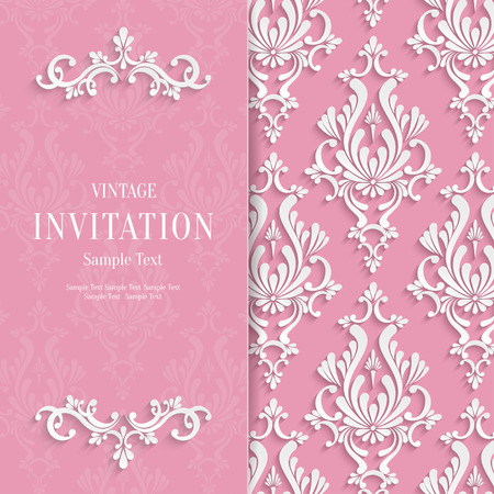 victorian wallpaper: Vector Pink Floral 3d Wedding Invitation Background Template