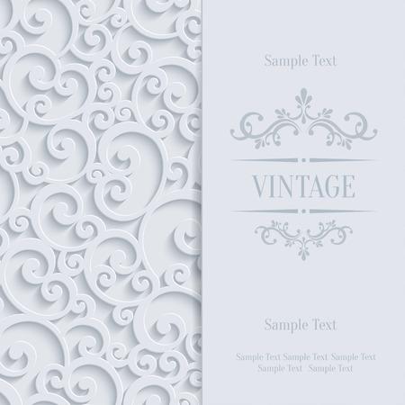 Blumenstrudel-Hintergrund mit 3D-Curl-Damast-Muster für Hochzeit oder Einladungs-Karte. Vector Weiß Vintage Design Standard-Bild - 40225033