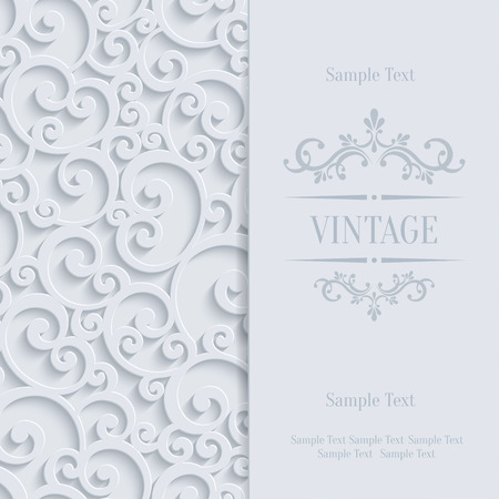 paper curl: Floral Swirl Background with 3d Curl Damask Pattern for Wedding or Invitation Card. Vector White Vintage Design