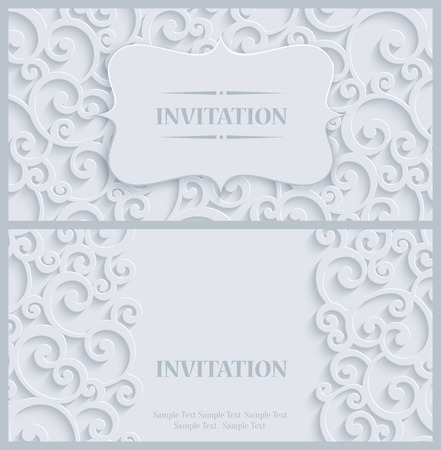 curle: 3d Swirl Background with Floral Damask Curl Pattern for Greeting or Invitation Card Design in Paper Cut Style. Vector White Vintage Template