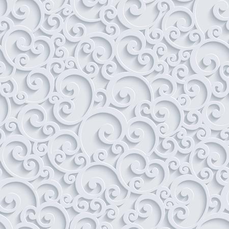 꽃 3D 원활한 패턴 배경입니다. 벡터 컬 장식 벽지 또는 초대 카드. 소용돌이 디자인 일러스트