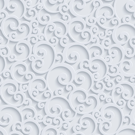 Floral 3d Seamless Pattern Background. Vector Curl Decoration For Wallpaper or Invitation Card. Swirl Design