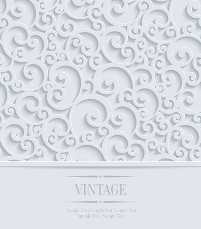 컬 패턴 3 차원 꽃 결혼식이나 초대 카드. 벡터 소용돌이 디자인