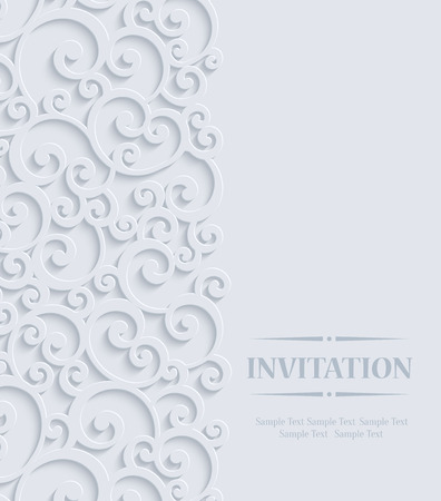 3d Floral Curl Wedding or Invitation Card with Swirl Damask Pattern