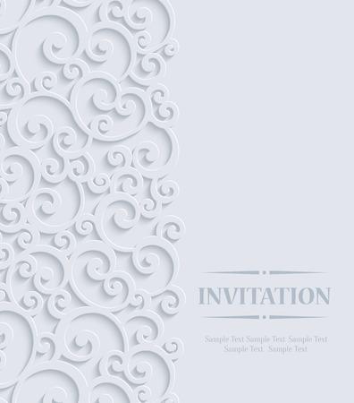 Mariage 3d floral Curl ou carte d'invitation avec le motif de remous de damassé Banque d'images - 40240079
