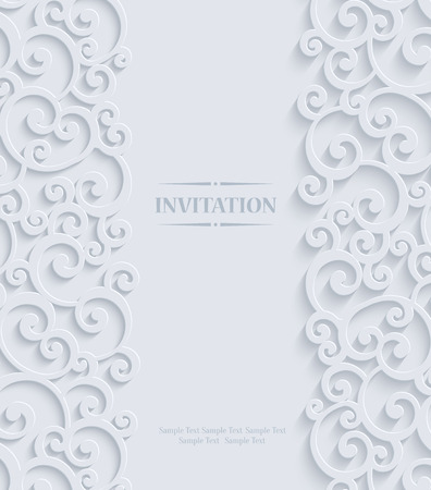 curle: 3d Swirl Wedding or Invitation Card with Floral Curl Pattern, Vector