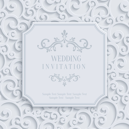 royal wedding: Vector 3d Curl Wedding or Invitation or Greeting Card with Damask Floral Swirl Pattern