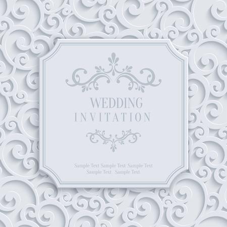 casamento: Vector 3d Enrolar Cartão ou convite de casamento ou com floral do redemoinho do damasco Padrão Ilustração