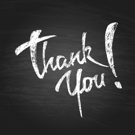thanks: Thank You Chalk Hand Drawing Greeting Card. Vector Background