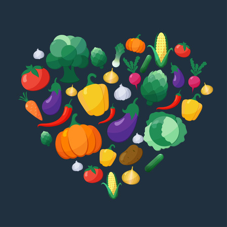 pumpkin tomato: Vector Vegetables Flat Style Icons Set in Heart Shape over Dark Background with Eggplant Carrot Paprika Artichoke Corn Radish Pumpkin Potato Leek Pepper Onion Broccoli Cucumber Cabbage Tomato Garlic