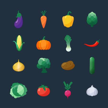 maiz: Iconos del vector Verduras Estilo plana conjunto aislado sobre fondo oscuro con berenjena zanahoria Paprika Alcachofa R�bano Ma�z Calabaza Patata Puerro Pimiento Cebolla Pepino Br�coli Col de tomate ajo Vectores