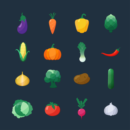 Vector Icons Vegetables Flat Style Set Isolated over Dark Background with Eggplant Carrot Paprika Artichoke Corn Radish Pumpkin Potato Leek Pepper Onion Broccoli Cucumber Cabbage Tomato Garlic