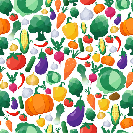 Vector Vegetables Seamless Pattern Background in Flat Style, Concept Organic Food, Vegetarian Menu, Healthy Diet. Design Element Template  イラスト・ベクター素材