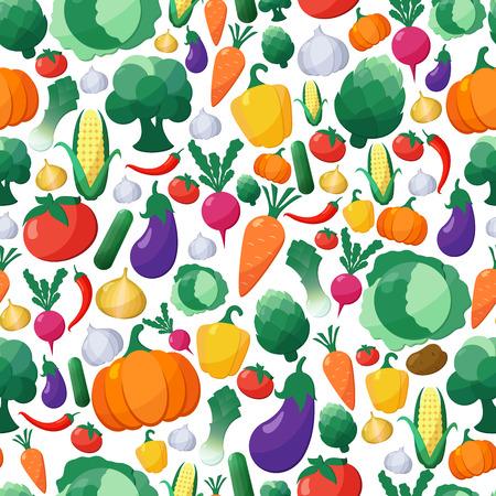 플랫 스타일 벡터 야채 원활한 패턴 배경, 개념 유기농 식품, 채식 메뉴, 건강한 다이어트. 디자인 요소 템플릿 일러스트