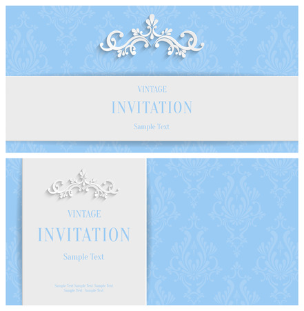 Vector Blue 3d Floral Horizontal Cards Set, Christmas and Invitation Template 向量圖像