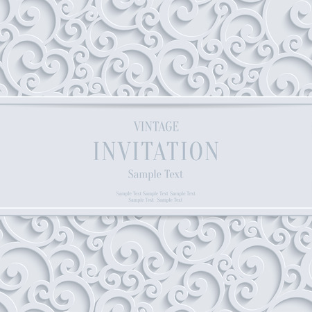 christmas greeting: Floral  Swirl Vector White 3d Christmas or Weddind Invitation Cards Background with Curl Damask Pattern