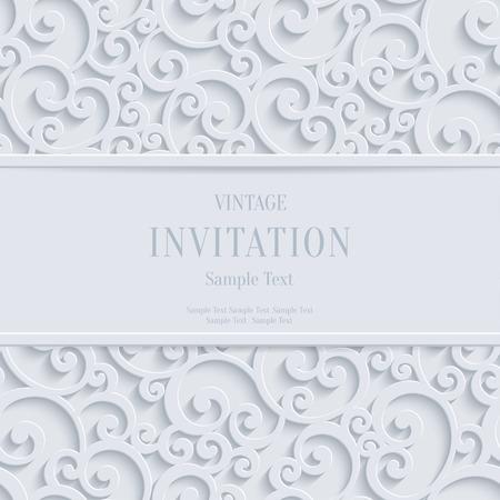 navidad elegante: Remolino floral Vector Blanco 3d Navidad o invitación para boda Tarjetas de fondo con el patrón de rizo damasco
