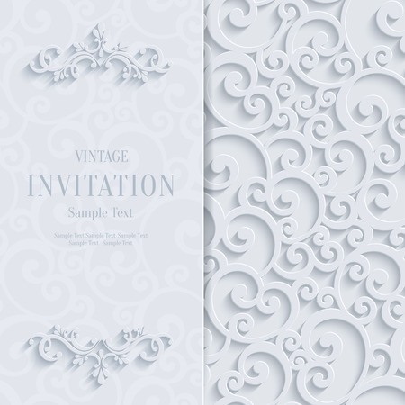 curle: Floral Curl White Background with 3d Swirl Damask Pattern for Wedding or Invitation Card. Vector White Vintage Design