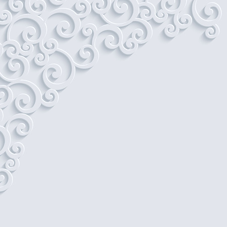curle: White 3d Floral Swirl Background with Curl Pattern for Wedding or Invitation Card. Vector Abstract Vintage Design
