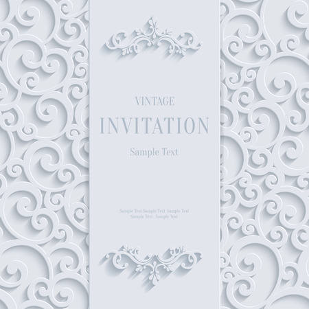 White 3d Floral Curl Background with Swirl Damask Pattern for Christmas or Wedding or Invitation Card. Vector Vintage Design Template Vettoriali