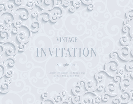 curle: White 3d Floral Swirl Horizontal Background with Curl Pattern for Wedding or Invitation Card. Abstract Vector Vintage Design Template