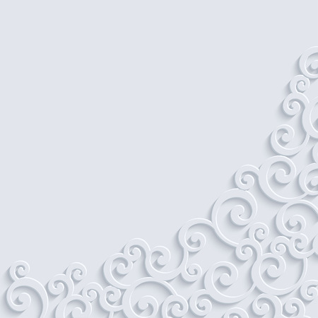 curle: White 3d Floral Swirl Background with Curl Pattern. Abstract Vector Vintage Design