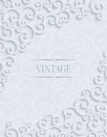 curle: White 3d Floral Swirl Vertical Background with Curl Pattern for Wedding or Invitation Card. Abstract Vector Vintage Design Template