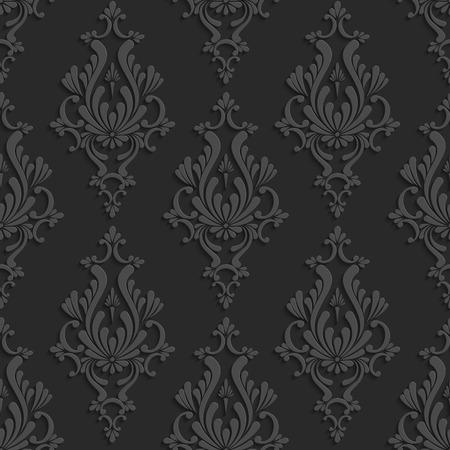 검은 꽃 Damask 3d 연속 패턴. 벡터 배경입니다. 벽지 또는 초대 카드 장식 일러스트