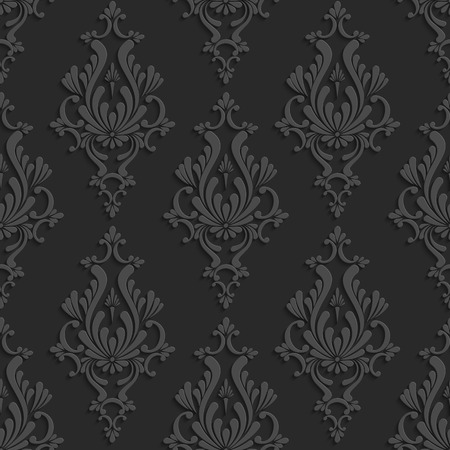 curle: Black Floral Damask 3d Seamless Pattern. Vector Background. Decoration For Wallpaper or Invitation Card