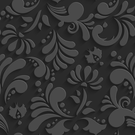 black shadow: Vector Black 3d Floral Seamless Pattern with Shadow. Template Decorative Background for Your Design