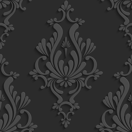 黒花ダマスク 3 d のシームレスなパターン。ベクトルの背景。壁紙や招待状の装飾