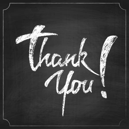 you: Vector Chalkboard Background with Thank You Lettering