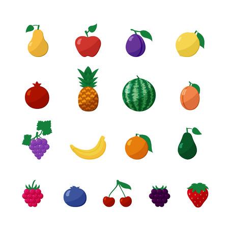 fruta tropical: Iconos vectoriales frutas y bayas en Set plana del estilo aislado sobre blanco con manzana, pera, plátano, limón, cereza, fresa, frambuesa, arándano, zarzamora, uvas, granada, piña, naranja, ciruela, sandía, aguacate, albaricoque