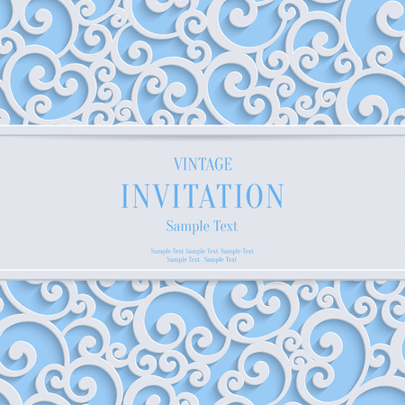 Floral swirl vector white 3d christmas or weddind invitation floral swirl vector blue 3d christmas or weddind invitation cards background with curl damask pattern vector stopboris Choice Image