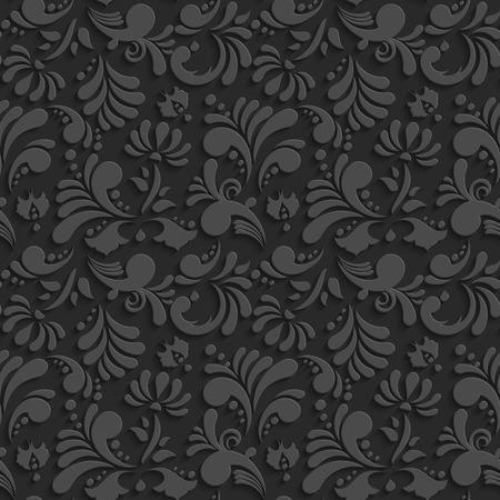 ベクターのブラック シャドウとの 3 d のシームレスな花柄。あなたの設計の装飾的な背景をテンプレート