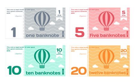 Vector Abstract Cute Color Banknote Templates Set 1 in Flat Style Isolated on White Background Illustration