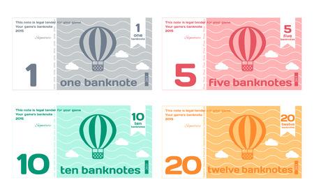 Wektor Streszczenie Słodkie Kolor Banknot Szablony Set 1 w Flat stylu wyizolowanych na białym tle