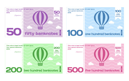 Vector Abstract Cute Color Banknote Templates Set 2 in Flat Style Isolated on White Background