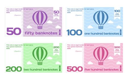 Vectorielle Abstract Mignon Couleur Banknote Modèles Set 2 à Flat Style isolé sur fond blanc Banque d'images - 42043772