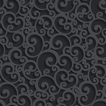 Vector Black 3d Swirl Seamless Pattern with Shadow. Template Decorative Background for Your Design  イラスト・ベクター素材