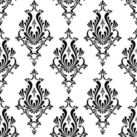Vector black and white floral damask seamless pattern Illustration