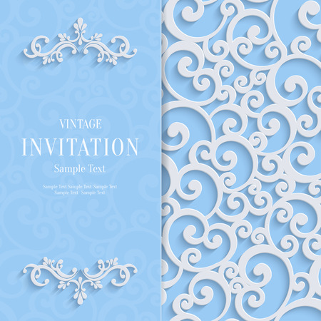 curle: Floral Curl Blue Background with 3d Swirl Damask Pattern for Wedding or Invitation Card. Vector White Vintage Design