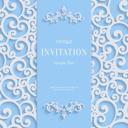 블루 3d 꽃 컬 배경 소용돌이 다마스커스 패턴 크리스마스 또는 결혼식이나 초대 카드. 벡터 빈티지 디자인 템플릿 일러스트