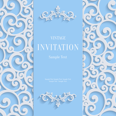Blue 3d Floral Curl Background with Swirl Damask Pattern for Christmas or Wedding or Invitation Card. Vector Vintage Design Template